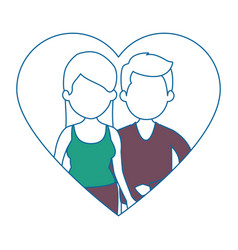 cute couple in love with heart vector image