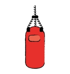 Drawing red punching bag training gym icon vector