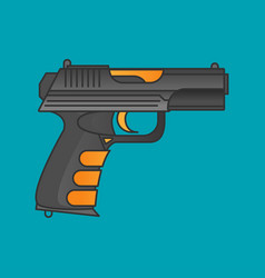 flat gun icon isolated on color background vector image