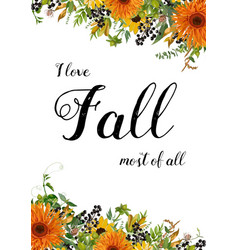 floral autumn design card orange yellow vector image vector image
