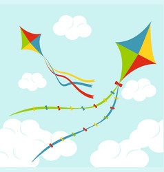 Fly color kites surfing vector