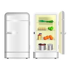 Front view of a retro refrigerator vector image