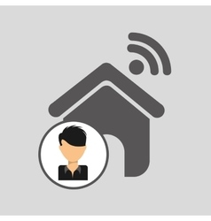 Guy cartoon wifi home vector