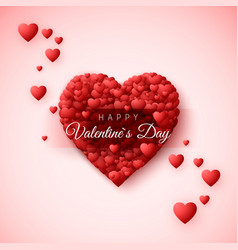 happy valentines day greeting card heart frame vector image vector image