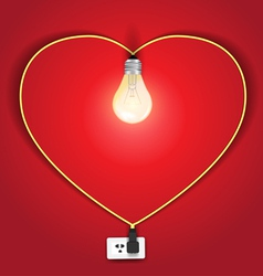 Heart lamp ideas concept vector image vector image