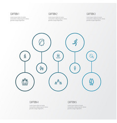 Human outline icons set collection of head male vector