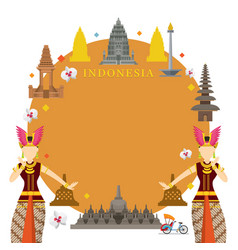 Indonesia landmarks traditional dance frame vector
