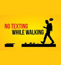 No texting while walking banner vector