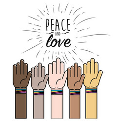 People hand to peace worldwide liberation vector
