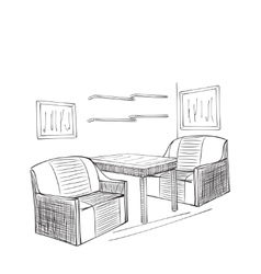 Place for reading with chair sketch vector image vector image
