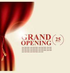 poster with curtains and the words grand opening vector image vector image