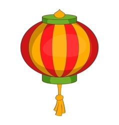 Red chinese lantern icon cartoon style vector