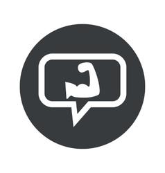 Round muscular arm dialog icon vector