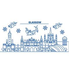 Scotland glasgow winter city skyline merry vector