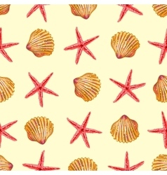 Sea Elements On Sand Seamless Pattern vector image
