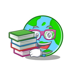 student with book world globe character cartoon vector image