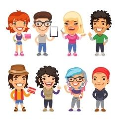 Trendy Dressed Cartoon Characters vector image