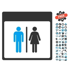 Toilet persons calendar page icon with vector