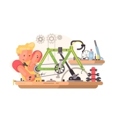 Bicycle repair service vector image