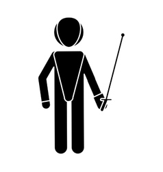 Silhouette fencing player sport athlete vector