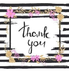 Handwritten Thank you text Frame of flowers vector image