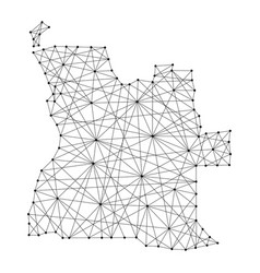Map of angola from polygonal black lines vector