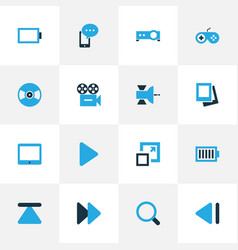 Media colorful icons set collection of video vector