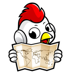 Cartoon chicken character holding a paper world vector