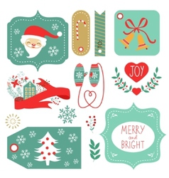 Gift tags and christmas graphic elements vector