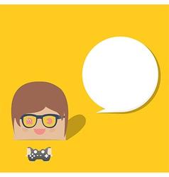 Cartoon doodle man rectangle play games bubble vector