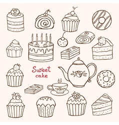 Cakes and desserts vector image