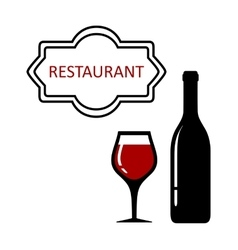 Restaurant signboard with glass and bottle vector