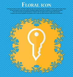 Key Floral flat design on a blue abstract vector image