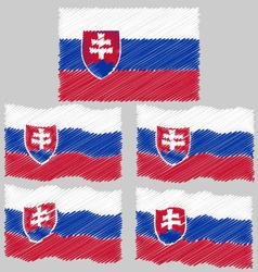 Flat and waving hand draw flag of slovakia vector