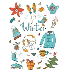 Amazing collection of hand drawn winter related vector