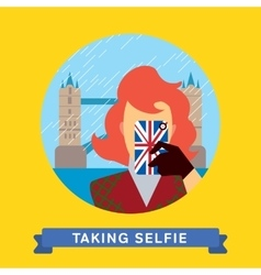 Take a photo selfie in united kingdom vector