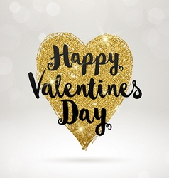 Valentines greeting card with glitter gold heart vector