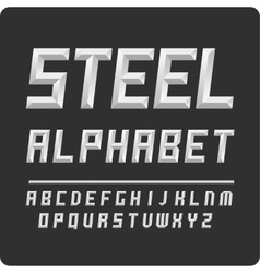 Set of letters alphabet steel color vector