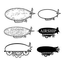 Airship with a place for the text black vector
