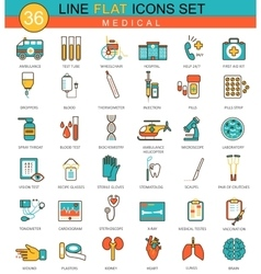 Medical medicine flat line icon set modern vector