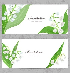 Invitation cards with fine lilies of the valley vector