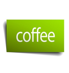 Coffee green paper sign on white background vector