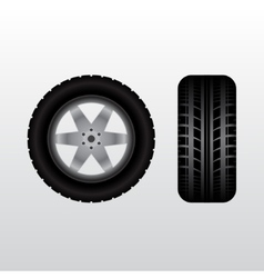 Car tire with wheel vector