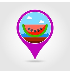Watermelon slice pin map icon summer vector