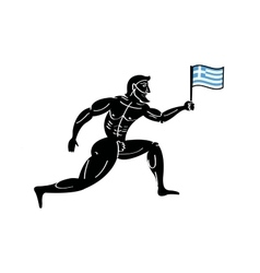 Ancient greek athletic runner with national flag vector image