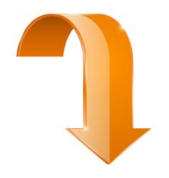 arrow down orange web icon vector image