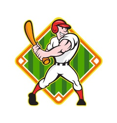 Baseball Player Batting Diamond Cartoon vector image