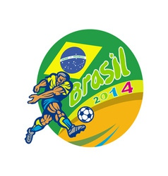 Brasil 2014 football player kicking retro vector