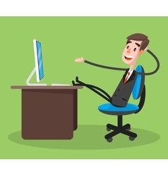 Businessman Smiling Using Computer vector image vector image
