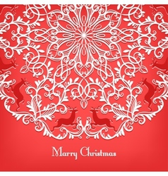 Christmas Greeting card with snowflake and deer vector image